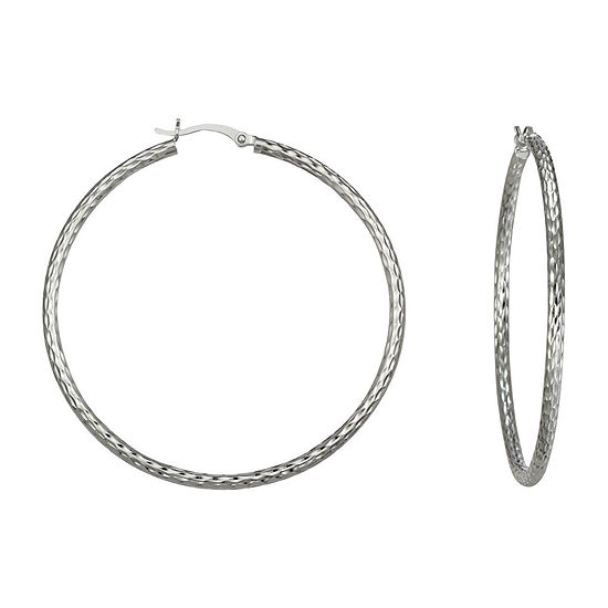 Diamond-Cut Hoop Earrings Sterling Silver