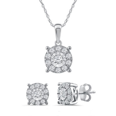 1 CT. T.W. Genuine White Diamond Sterling Silver 2-pc. Jewelry Set