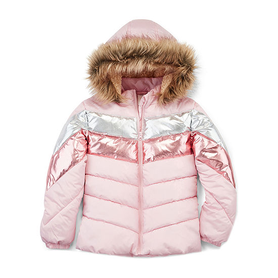 Arizona - Girls Hooded Fleece Lined Faux Fur Trim Heavyweight Puffer Jacket Plus-Big Kid