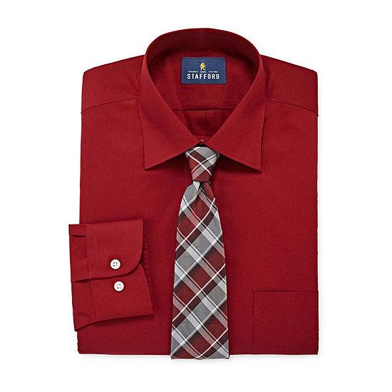 Stafford Mens Box Dress Shirt and Tie Set