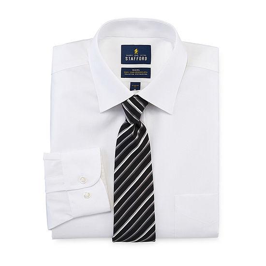 Stafford Box Shirt And Tie Set Mens Point Collar Long Sleeve Stretch Shirt + Tie Set