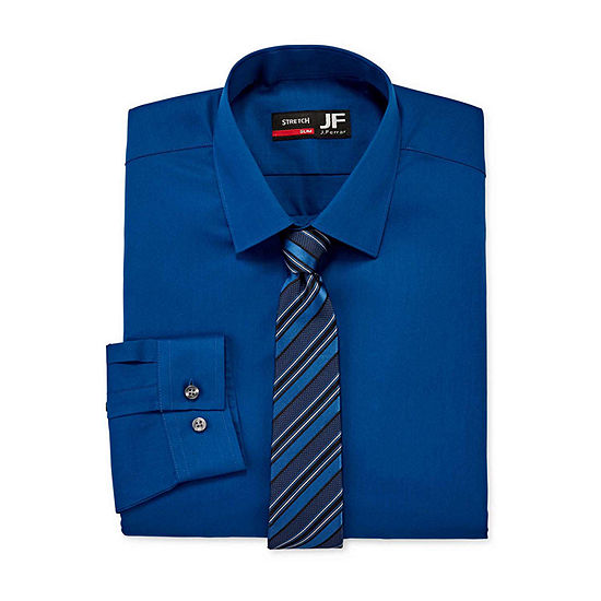 JF J.Ferrar Mens Spread Collar Long Sleeve Stretch Shirt + Tie Set Slim