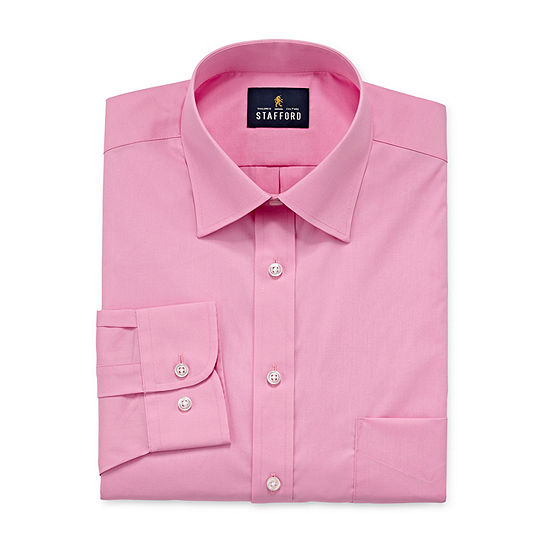 Stafford Travel Easy Care Stretch Broadcloth Mens Point Collar Long Sleeve Stretch Dress Shirt