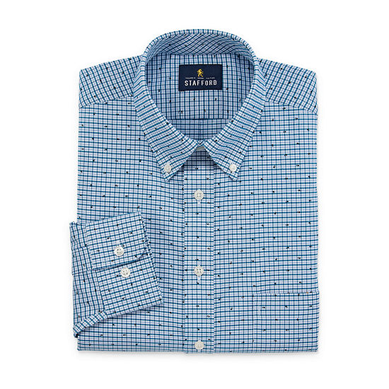 Stafford Mens Wrinkle Free Oxford Button Down Collar Fitted Dress Shirt