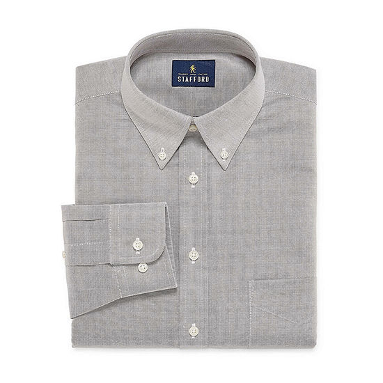 Stafford Mens Wrinkle Free Oxford Button Down Collar Athletic Fit Dress Shirt