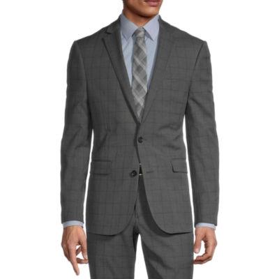 JF J.Ferrar Ultra Mens Checked Stretch Super Slim Fit Suit Jacket