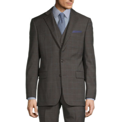 Stafford Super Suit Mens Windowpane Stretch Classic Fit Suit Jacket