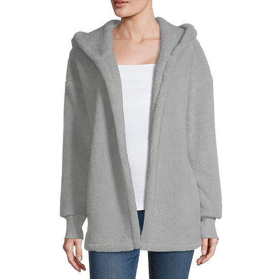Juniors Womens Hooded Neck Long Sleeve Open Front Cardigan