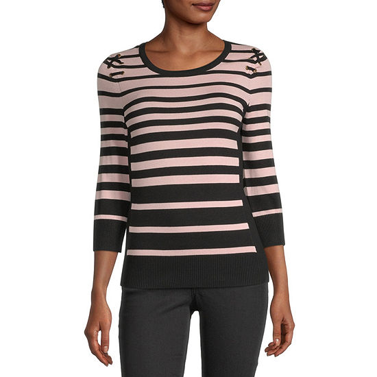 by&by-Juniors Womens Round Neck 3/4 Sleeve Striped Pullover Sweater