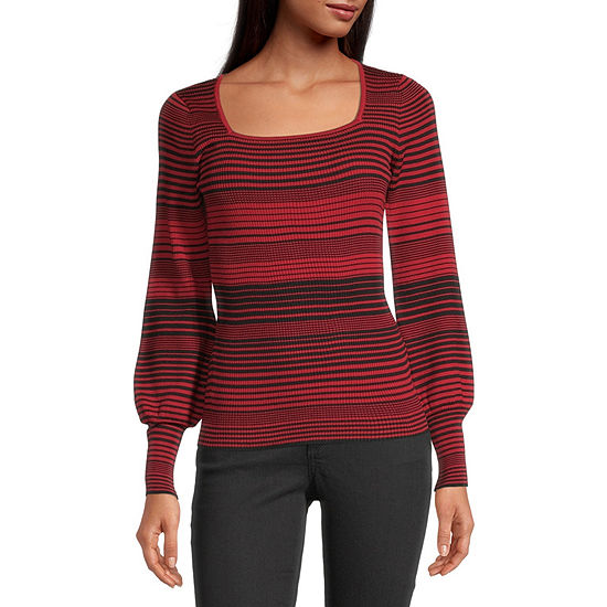 by&by-Juniors Womens Square Neck Long Sleeve Striped Pullover Sweater