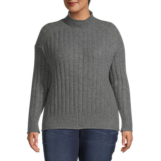 a.n.a-Plus Womens Mock Neck Long Sleeve Pullover Sweater
