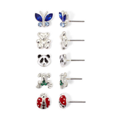 5-Pair Bear & Bug Stud Earring Set
