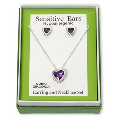 Purple Heart Cubic Zirconia Pendant Necklace & Earring Set