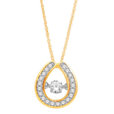 Love in Motion™  1/5 CT. T.W. Diamond 10K Yellow Gold Teardrop Pendant Necklace