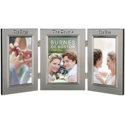 "Burnes of Boston® Wedding Hinged 3-Opening 4x6"" Collage Picture Frame"