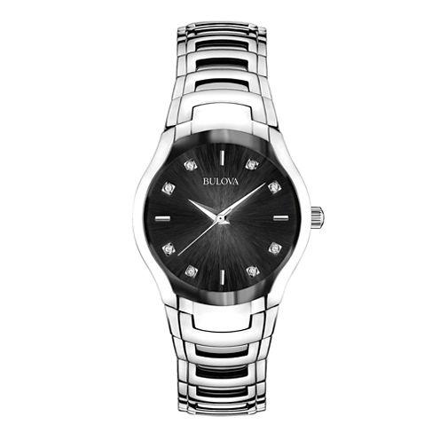Bulova® Womens Silver-Tone Diamond-Accent Watch 96P146