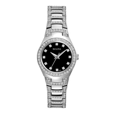 Bulova® Womens Crystal-Accent Stainless Steel Bracelet Watch
