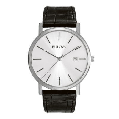 Bulova® Mens Silver-Tone Dial Black Leather Strap Watch 96B104