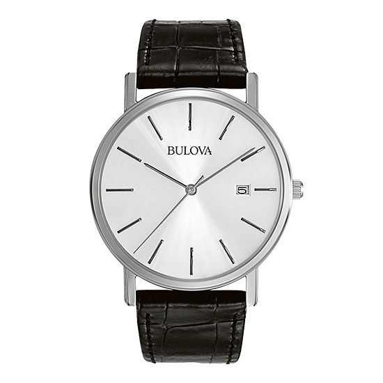 Bulova Classic Mens Black Leather Strap Watch-96b104