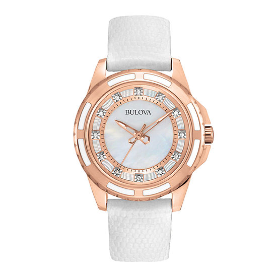 Bulova Classic Womens White Strap Watch-98p119