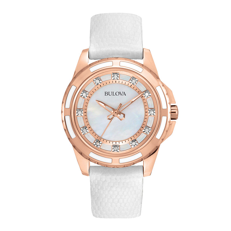 Bulova Womens Gold-Tone Mother-Of-Pearl Watch 98P119
