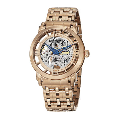 Stührling® Original Mens Rose-Tone Stainless Steel Skeleton Automatic Spoke Watch