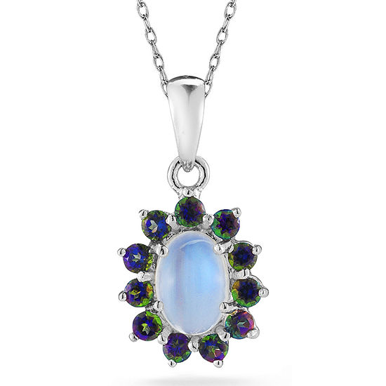 Opal & Mystic Fire Topaz Sterling Silver Pendant Necklace
