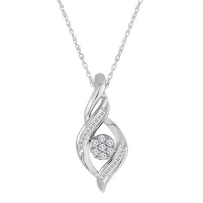 diamond blossom 1/5 CT. T.W. Diamond 10K White Gold Cluster Pendant Necklace