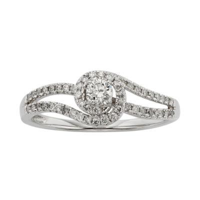 3/8 CT. T.W. Diamond 10K White Gold Swirl Promise Ring