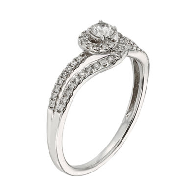 3/8 CT. T.W. Diamond 10K White Gold Swirl Promise Ring