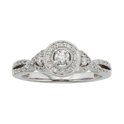 3/8 CT. T.W. Diamond 10K White Gold Twist Promise Ring