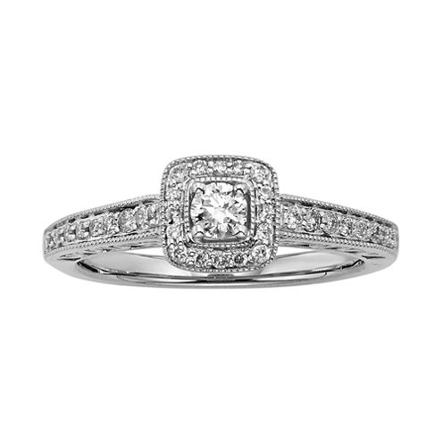3/8 CT. T.W. Diamond 10K White Gold Framed Promise Ring