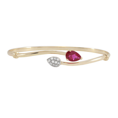 14K Gold over Silver Lab-Created Ruby & Lab-Created Sapphire Bangle Bracelet