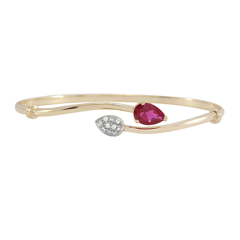 Lab-Created Ruby & Lab-Created White Sapphire Bypass Bangle Bracelet in 14K Gold over Silver