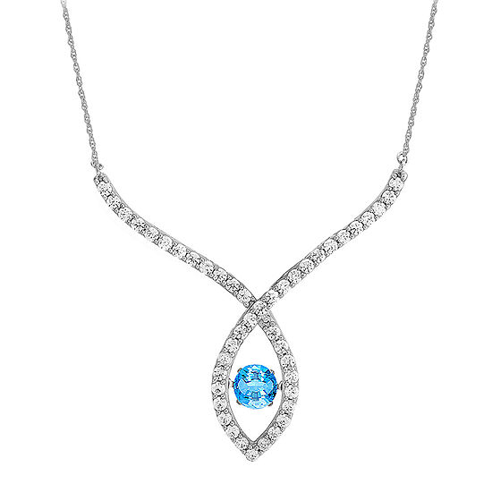 Love in Motion™ Genuine Blue Topaz and Lab-Created White Sapphire Necklace