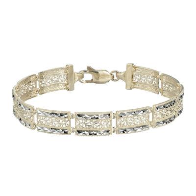 10K Two-Tone Gold Square Filigree 9mm Link Bracelet