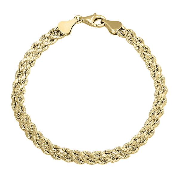 "10K Gold  4.9mm 7.25"" Double Rope Bracelet"
