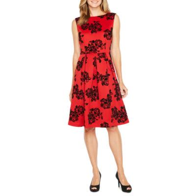 Studio 1 Sleeveless Flocked Velvet Floral Fit & Flare Dress