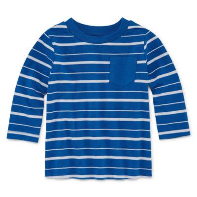 Okie Dokie Stripe Long Sleeve T-Shirt-Baby Boy NB-24M