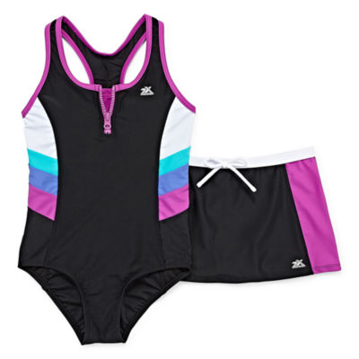 Zeroxposur Pattern One Piece Swimsuit with Matching Skirt Big Kid Girls