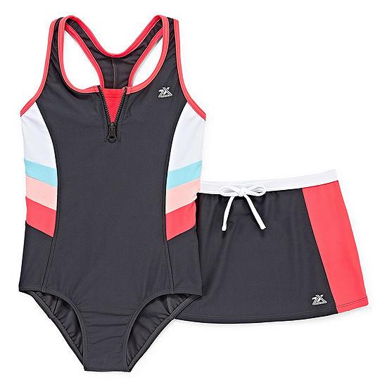 Zeroxposur Stripe One Piece Swimsuit with Skirt Big Kid Girls