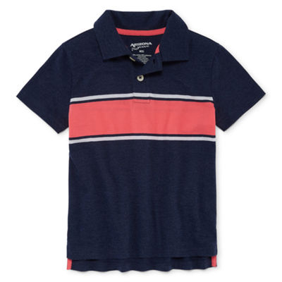 Arizona Short Sleeve Stripe Knit Polo Shirt Boys 4-20