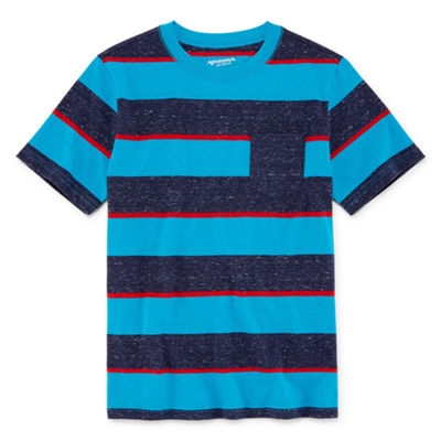 Arizona Short Sleeve Stripe T-Shirt Boys 4-20, Regular & Husky