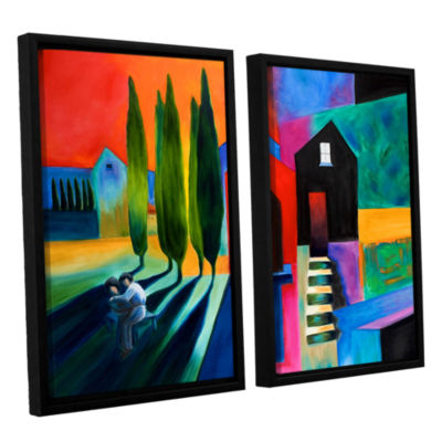 Brushstone Trying To Talk Her Into It 2-pc. Floater Framed Canvas Wall Art