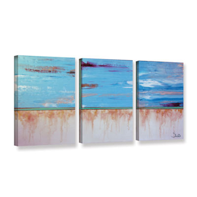 Brushstone Turquoise And Gold 3-pc. Gallery Wrapped Canvas Wall Art