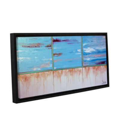 Brushstone Turquiose And Gold Gallery Wrapped Floater-Framed Canvas Wall Art