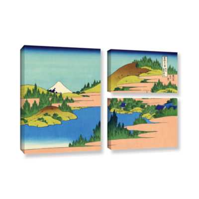 Brushstone The Lake Of Hakone 3-pc. Flag Gallery Wrapped Canvas Wall Art
