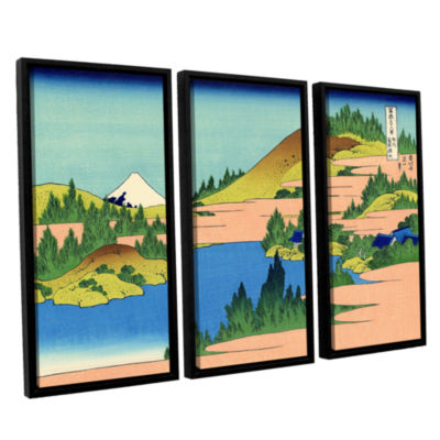 Brushstone The Lake Of Hakone 3-pc. Floater Framed Canvas Wall Art