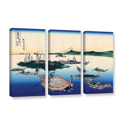 Brushstone Tsukuda Island In Musashi Province 3-pc. Gallery Wrapped Canvas Wall Art