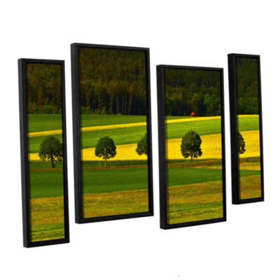 Brushstone The Only Red Hut 4-pc. Floater Framed Staggered Canvas Wall Art